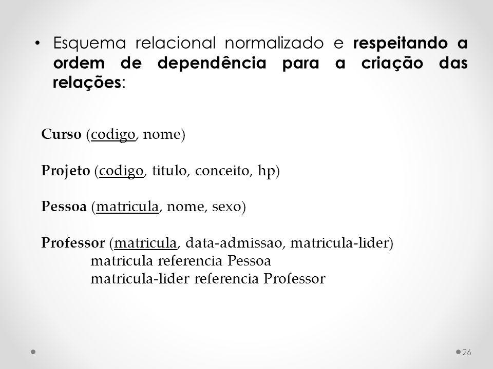 26 Esquema relacional normalizado e respeitando a ordem de dependência para a criação das relações : Curso (codigo, nome) Projeto (codigo, titulo, con