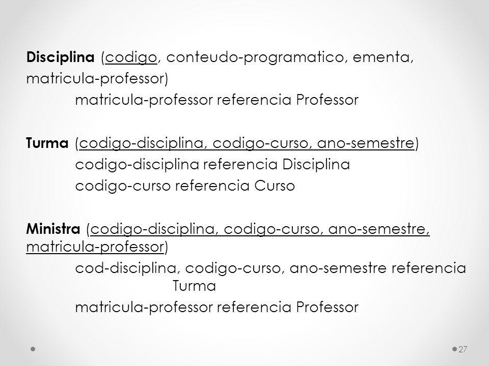 Disciplina (codigo, conteudo-programatico, ementa, matricula-professor) matricula-professor referencia Professor Turma (codigo-disciplina, codigo-curs