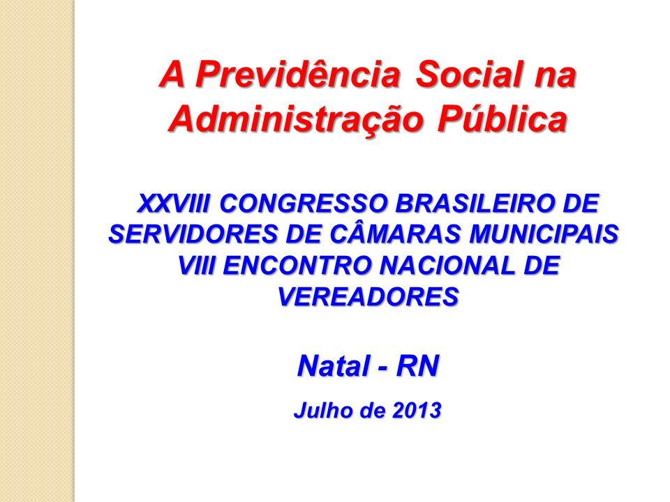 A Previdência Social na Administração Pública XXVIII CONGRESSO BRASILEIRO DE SERVIDORES DE CÂMARAS MUNICIPAIS VIII ENCONTRO NACIONAL DE VEREADORES Nat