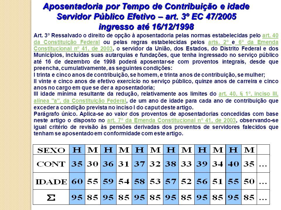 Aposentadoria por Tempo de Contribuição e idade Servidor Público Efetivo – art. 3º EC 47/2005 ingresso até 16/12/1998 Art. 3º Ressalvado o direito de