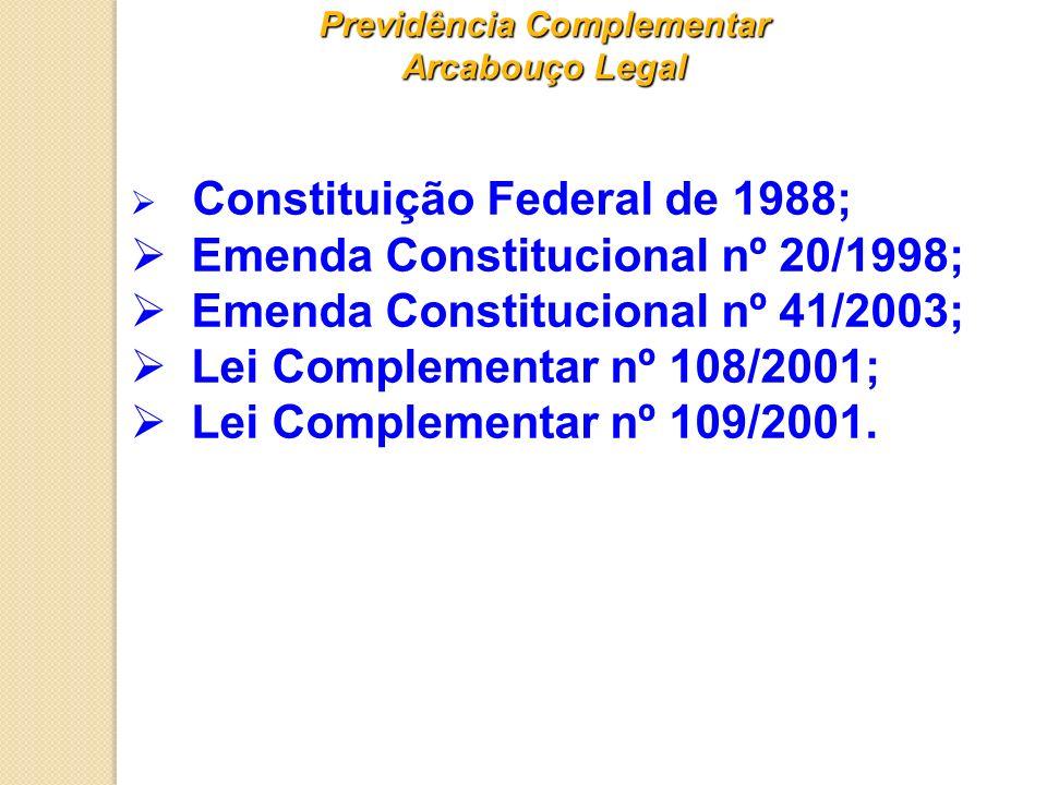 Previdência Complementar Arcabouço Legal Constituição Federal de 1988; Emenda Constitucional nº 20/1998; Emenda Constitucional nº 41/2003; Lei Complem