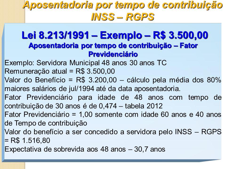 Aposentadoria por tempo de contribuição INSS – RGPS Lei 8.213/1991 – Exemplo – R$ 3.500,00 Aposentadoria por tempo de contribuição – Fator Previdenciá