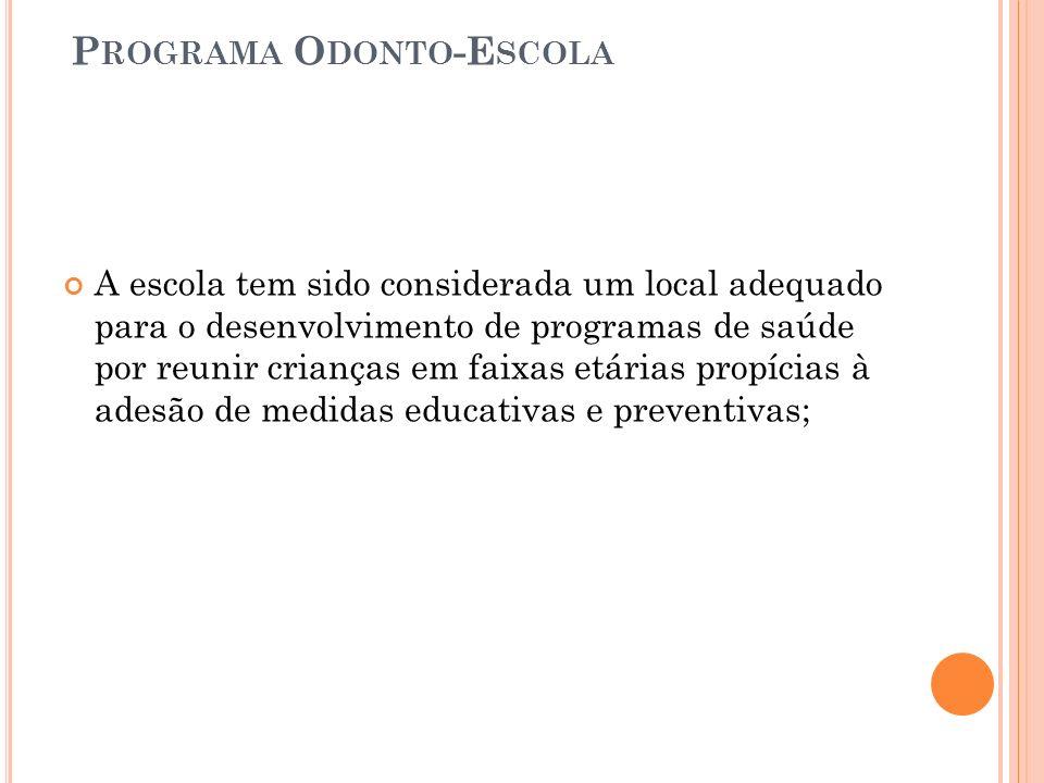 P ROGRAMA O DONTO -E SCOLA A escola tem sido considerada um local adequado para o desenvolvimento de programas de saúde por reunir crianças em faixas