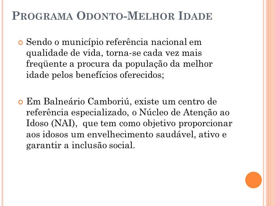 P ROGRAMA O DONTO -M ELHOR I DADE Sendo o município referência nacional em qualidade de vida, torna-se cada vez mais freqüente a procura da população