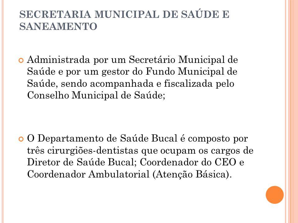SECRETARIA MUNICIPAL DE SAÚDE E SANEAMENTO Administrada por um Secretário Municipal de Saúde e por um gestor do Fundo Municipal de Saúde, sendo acompa