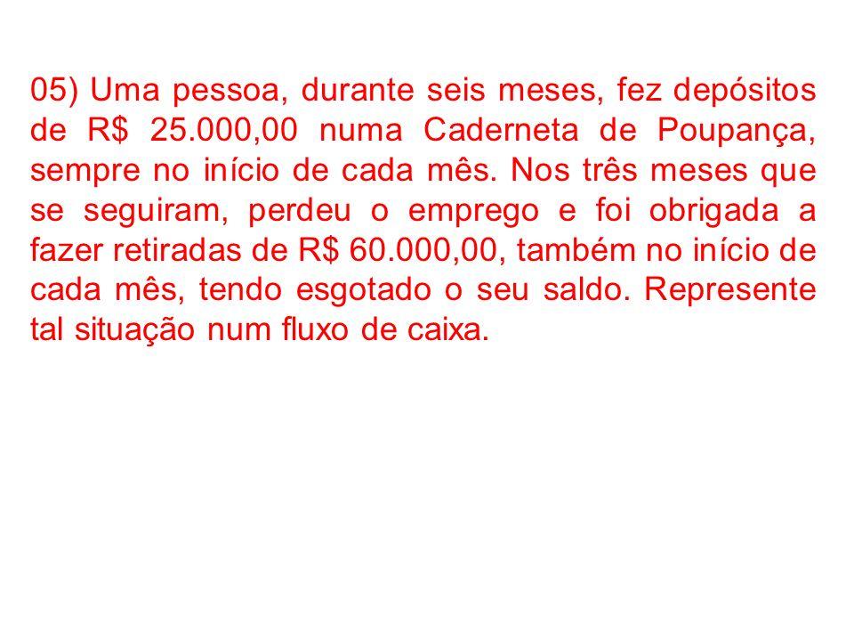 05) Uma pessoa, durante seis meses, fez depósitos de R$ 25.000,00 numa Caderneta de Poupança, sempre no início de cada mês. Nos três meses que se segu