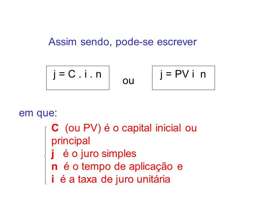 Assim sendo, pode-se escrever j = C. i. nj = PV i n ou em que: C (ou PV) é o capital inicial ou principal j é o juro simples n é o tempo de aplicação