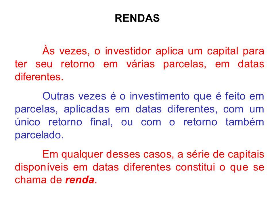 RENDAS Às vezes, o investidor aplica um capital para ter seu retorno em várias parcelas, em datas diferentes. Outras vezes é o investimento que é feit