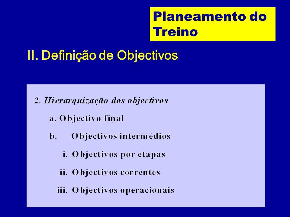 II. Definição de Objectivos Planeamento do Treino