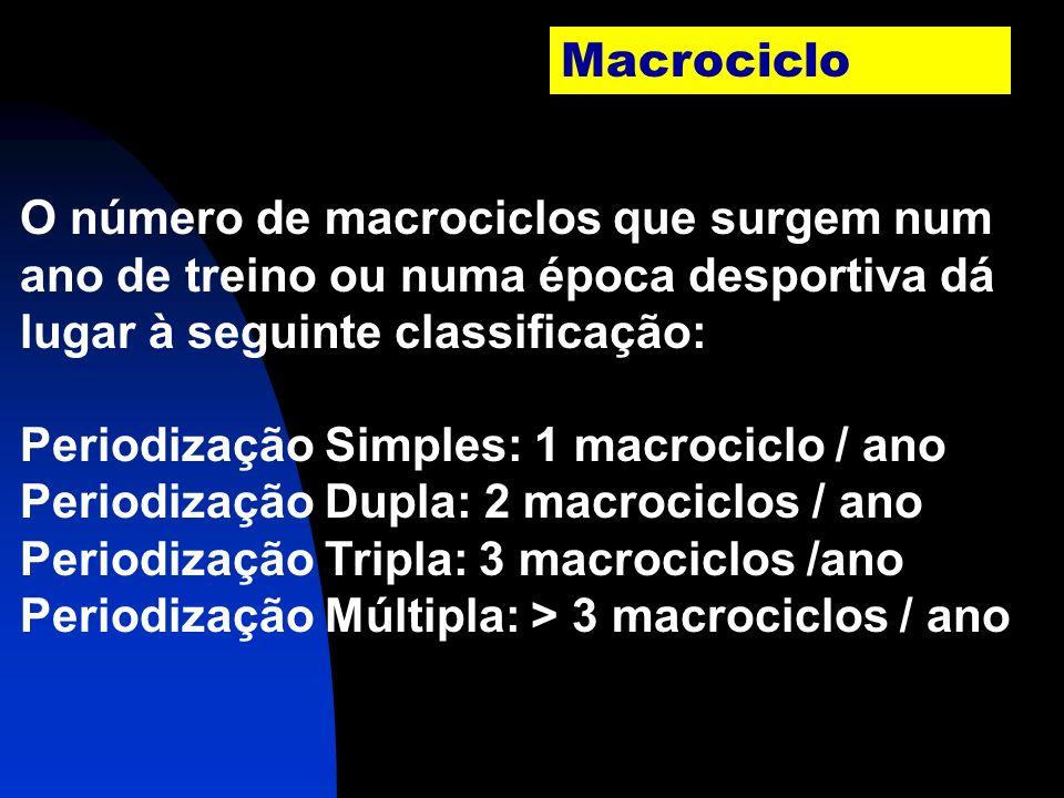 Macrociclo Os macrociclos são períodos de preparação nos quais se concretiza um efeito específico ou uma adaptação do treino de modo a realizar um des