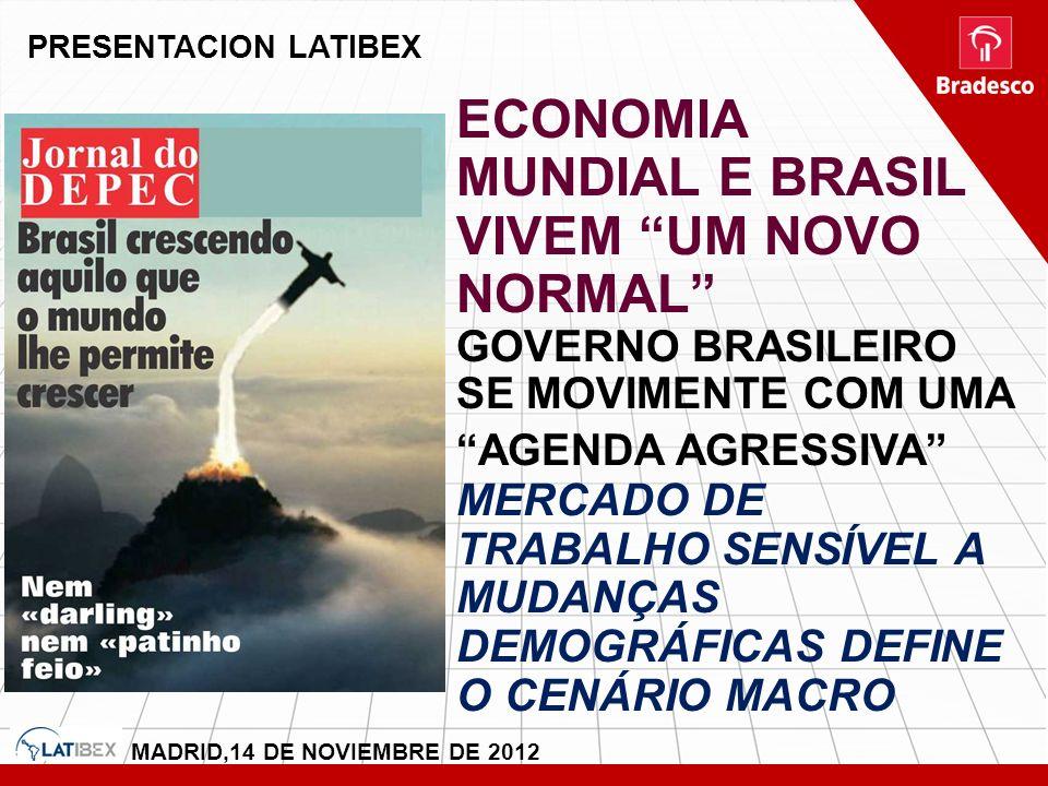 PRESENTACION LATIBEX MADRID,14 DE NOVIEMBRE DE 2012 ECONOMIA MUNDIAL E BRASIL VIVEM UM NOVO NORMAL GOVERNO BRASILEIRO SE MOVIMENTE COM UMA AGENDA AGRE