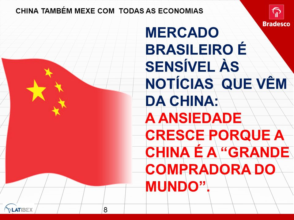MERCADO BRASILEIRO É SENSÍVEL ÀS NOTÍCIAS QUE VÊM DA CHINA: A ANSIEDADE CRESCE PORQUE A CHINA É A GRANDE COMPRADORA DO MUNDO. CHINA TAMBÉM MEXE COM TO