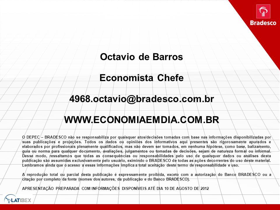Octavio de Barros Economista Chefe 4968.octavio@bradesco.com.br WWW.ECONOMIAEMDIA.COM.BR O DEPEC – BRADESCO não se responsabiliza por quaisquer atos/d
