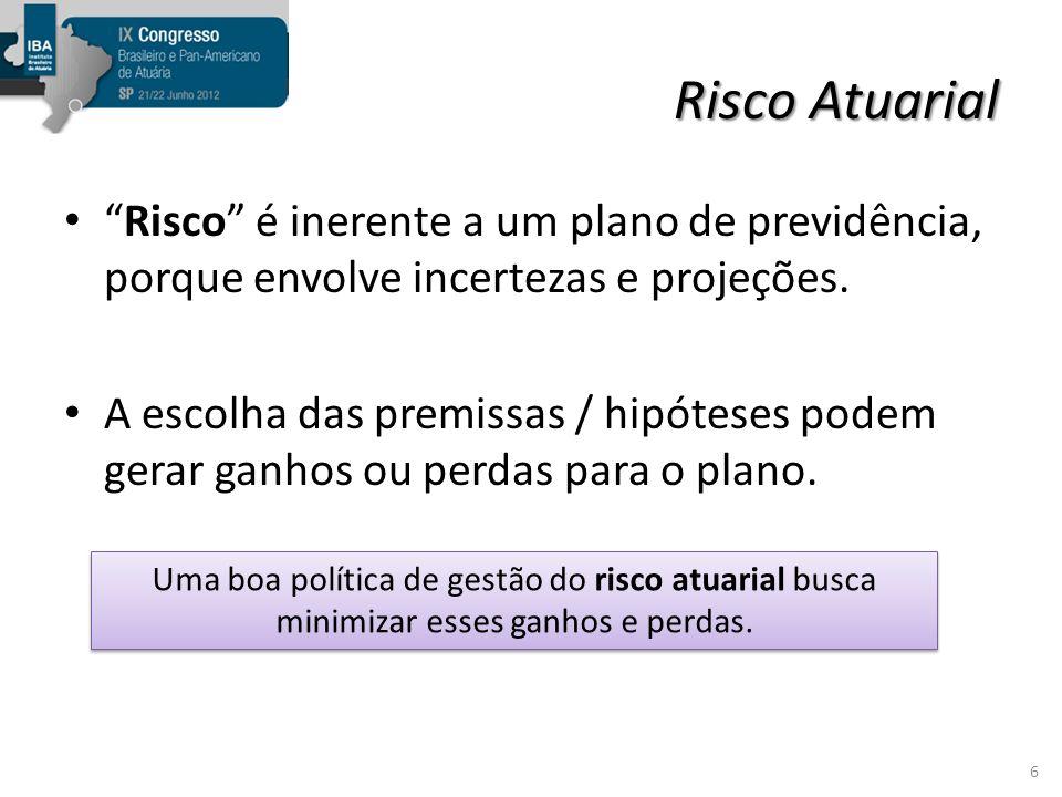 Risco Atuarial depende da modalidade do plano Planos de benefício definido (BD) estão mais expostos aos riscos atuariais.