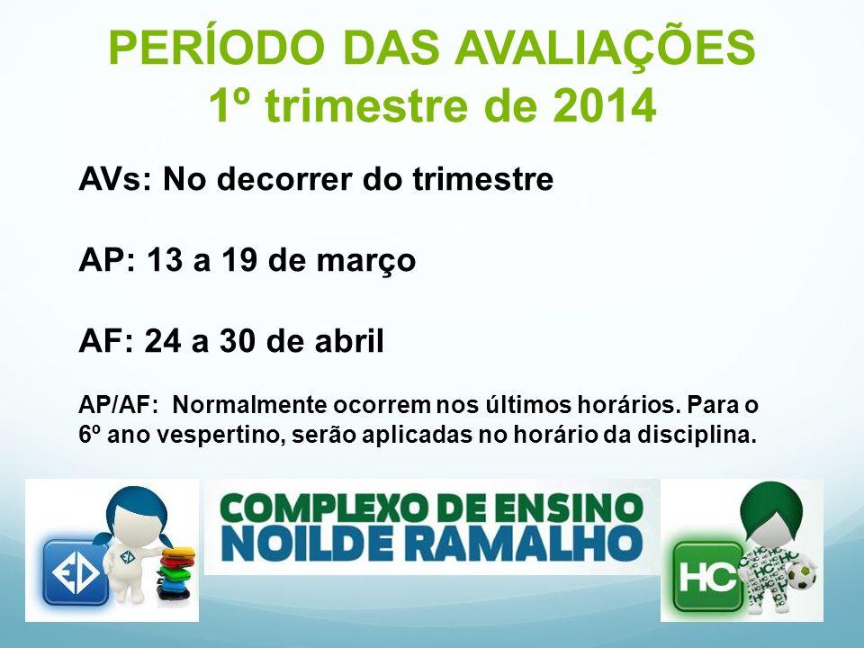 PERÍODO DAS AVALIAÇÕES 1º trimestre de 2014 AVs: No decorrer do trimestre AP: 13 a 19 de março AF: 24 a 30 de abril AP/AF: Normalmente ocorrem nos últimos horários.