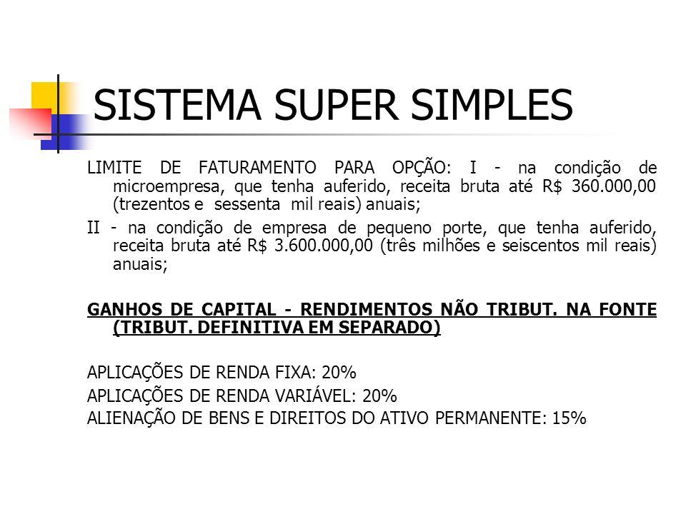 FORMAS DE TRIBUTAÇÃO SISTEMA SIMPLES (SUPER SIMPLES) LUCRO PRESUMIDO LUCRO REAL LUCRO ARBITRADO