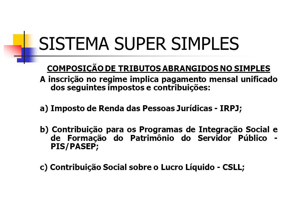 SISTEMA SUPER SIMPLES LEGISLAÇÃO: Instituído pela L.C 123/2006, para vigorar a partir de 01/07/2007 APURAÇÃO, FORMA E PRAZO DE RECOLHIMENTO APURAÇÃO: