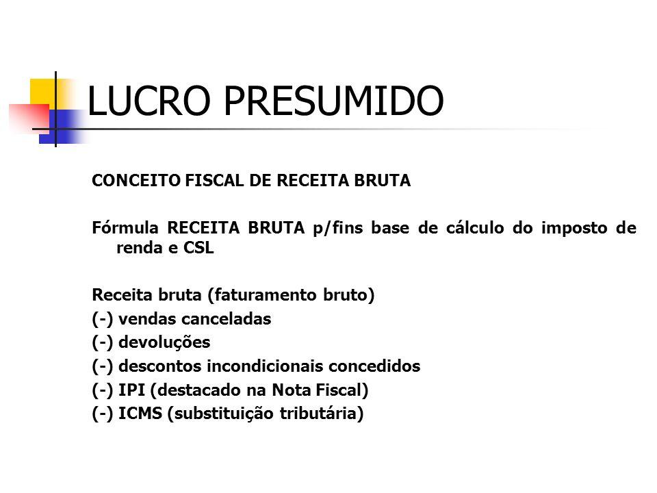 LUCRO PRESUMIDO BASE DE CÁLCULO IV - os juros sobre o capital próprio auferidos; V - os valores recuperados, correspondentes a custos e despesas, incl