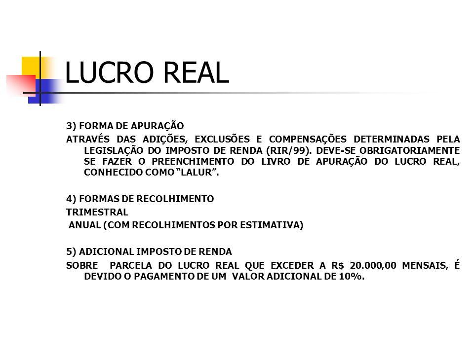 LUCRO REAL 1) CONCEITO Lucro Real: Lucro Líquido do exercício ajustado pelas adições, exclusões ou compensações prescritas ou autorizadas pela legisla