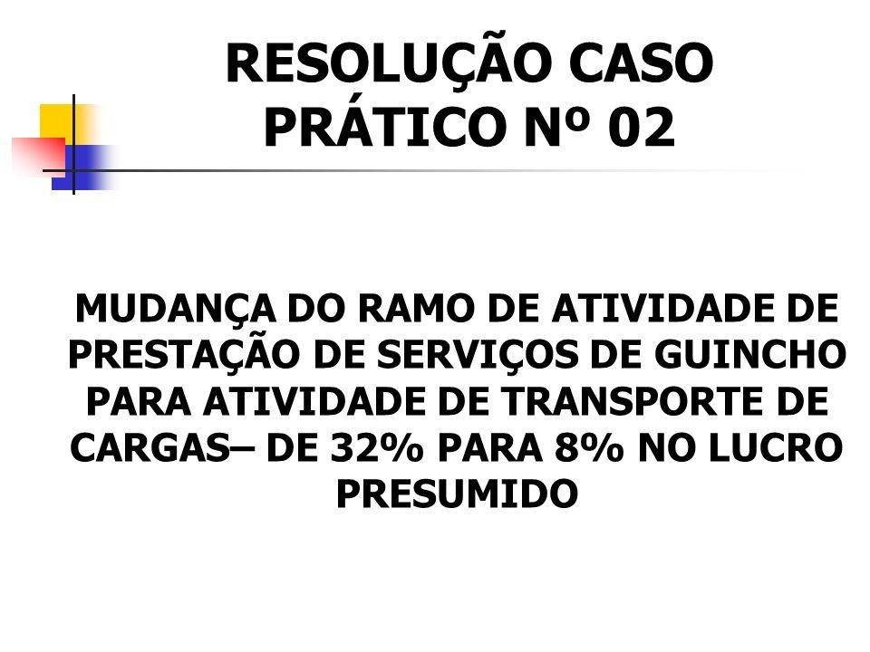CASO PRÁTICO Nº 02 A empresa Socorre Carros Ltda. atua no ramo de guincho e possui caminhões abertos que podem transportar o veículo avariado até o lo