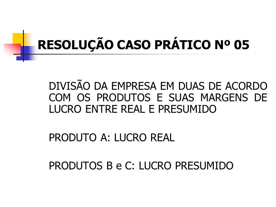 CASO PRÁTICO Nº 05 A empresa INDÚSTRIAS ZALUNT LTDA. é lucrativa, optante pelo lucro real em virtude da receita, pois teve faturamento em 2008 de R$ 1