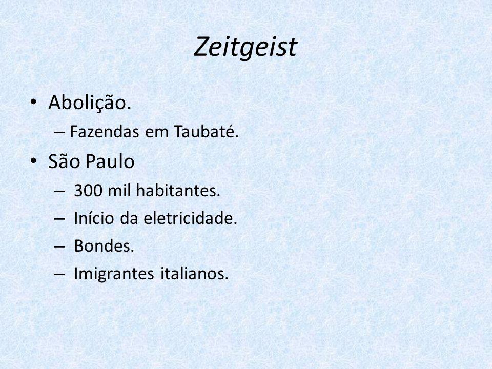 Zeitgeist Abolição. – Fazendas em Taubaté. São Paulo – 300 mil habitantes. – Início da eletricidade. – Bondes. – Imigrantes italianos.