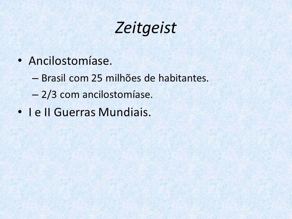 Zeitgeist Ancilostomíase. – Brasil com 25 milhões de habitantes. – 2/3 com ancilostomíase. I e II Guerras Mundiais.
