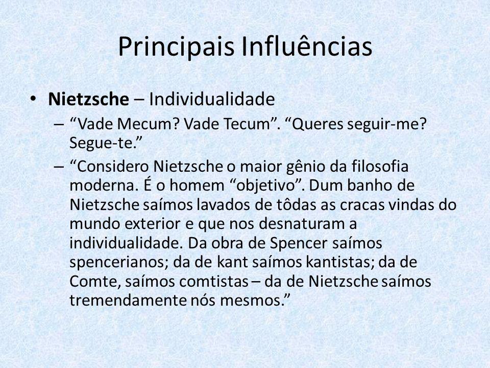 Principais Influências Nietzsche – Individualidade – Vade Mecum? Vade Tecum. Queres seguir-me? Segue-te. – Considero Nietzsche o maior gênio da filoso