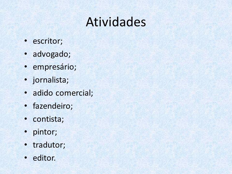 Atividades escritor; advogado; empresário; jornalista; adido comercial; fazendeiro; contista; pintor; tradutor; editor.