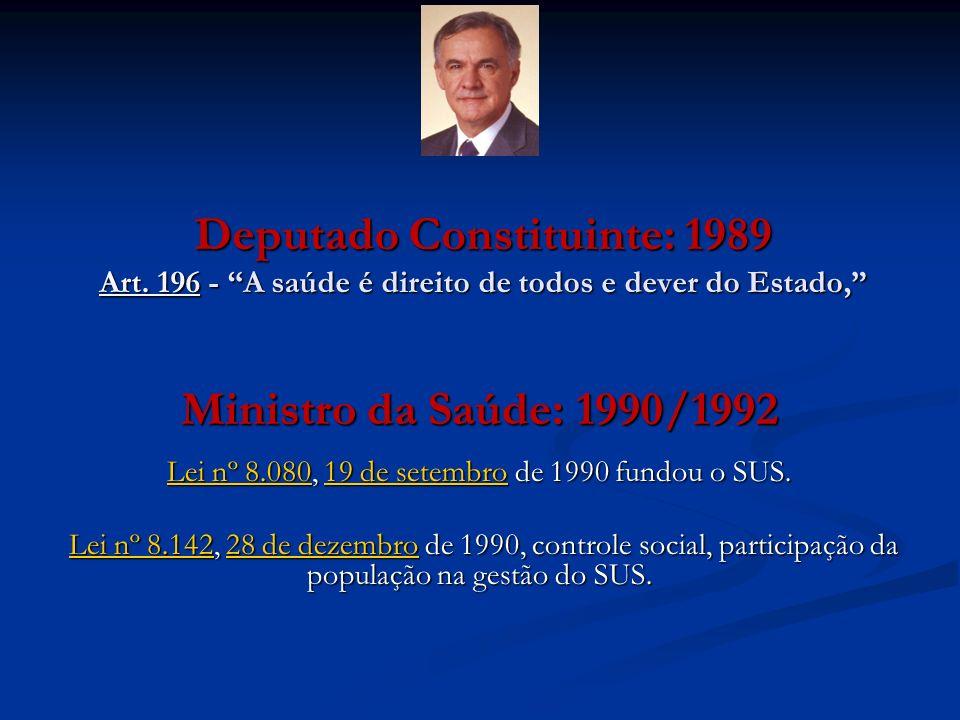 Deputado Constituinte: 1989 Art. 196 - A saúde é direito de todos e dever do Estado, Ministro da Saúde: 1990/1992 Lei nº 8.080Lei nº 8.080, 19 de sete