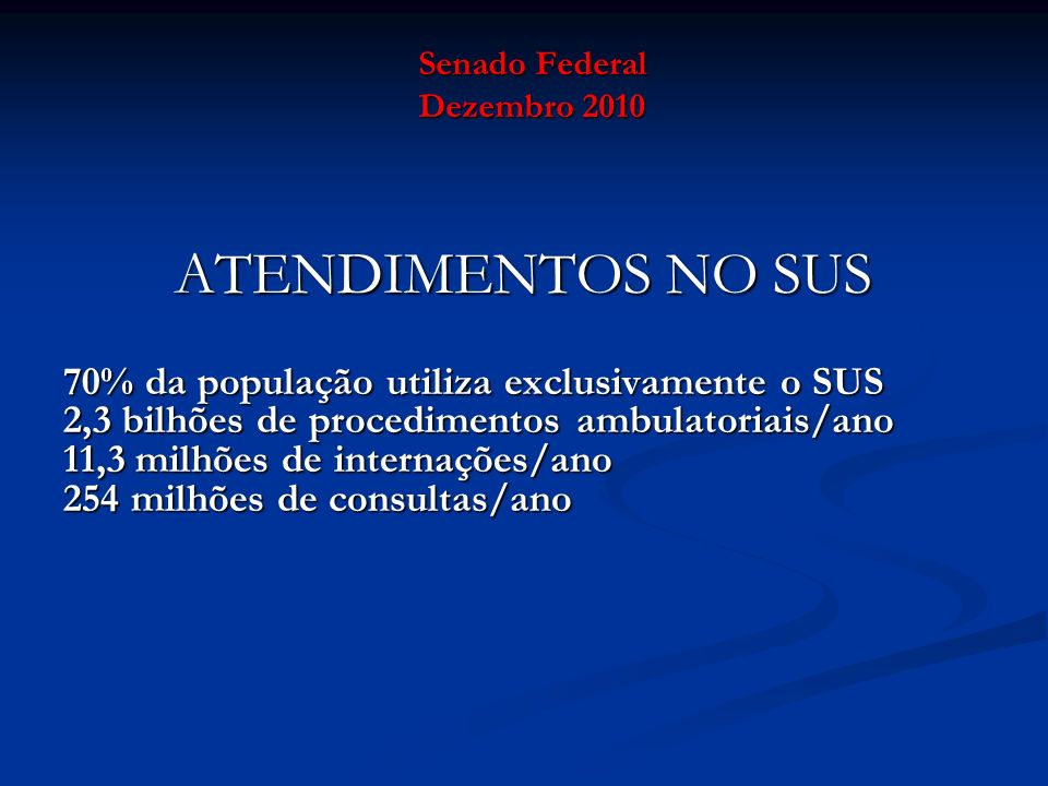 Senado Federal Dezembro 2010 ATENDIMENTOS NO SUS 70% da população utiliza exclusivamente o SUS 2,3 bilhões de procedimentos ambulatoriais/ano 11,3 mil