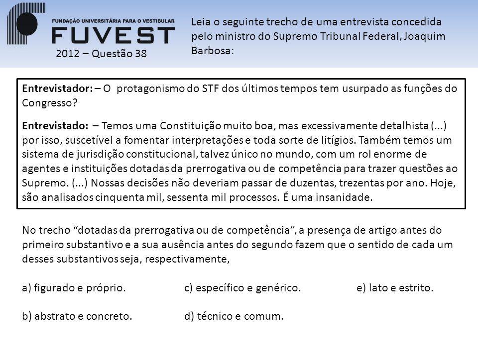 2012 – Questão 38 Entrevistador: – O protagonismo do STF dos últimos tempos tem usurpado as funções do Congresso.