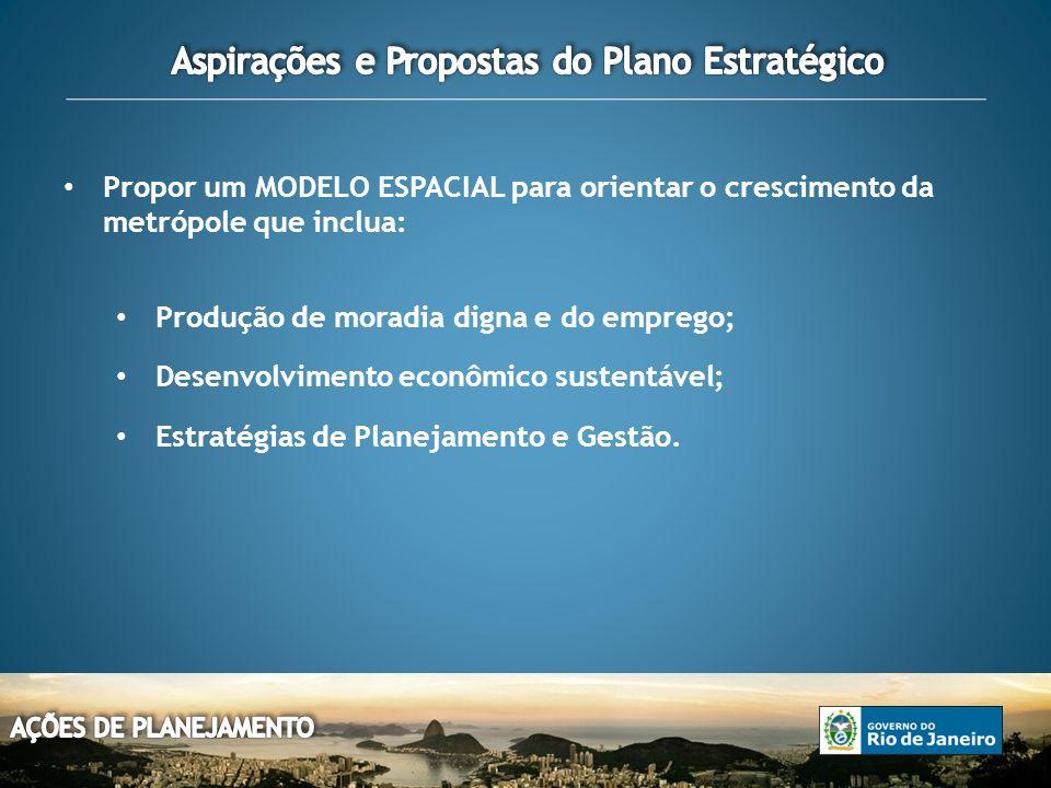 Propor um MODELO ESPACIAL para orientar o crescimento da metrópole que inclua: Produção de moradia digna e do emprego; Desenvolvimento econômico sustentável; Estratégias de Planejamento e Gestão.