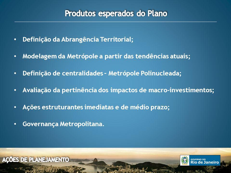 Definição da Abrangência Territorial; Modelagem da Metrópole a partir das tendências atuais; Definição de centralidades – Metrópole Polinucleada; Avaliação da pertinência dos impactos de macro-investimentos; Ações estruturantes imediatas e de médio prazo; Governança Metropolitana.