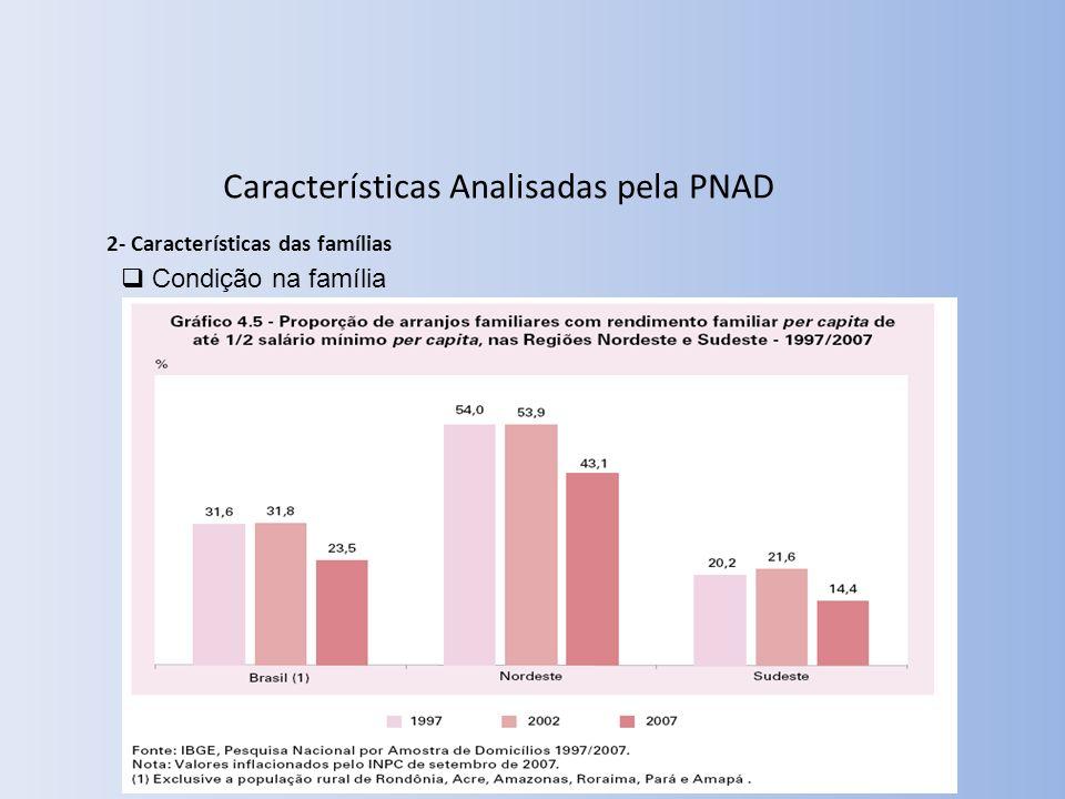 Condição na família 2- Características das famílias Características Analisadas pela PNAD