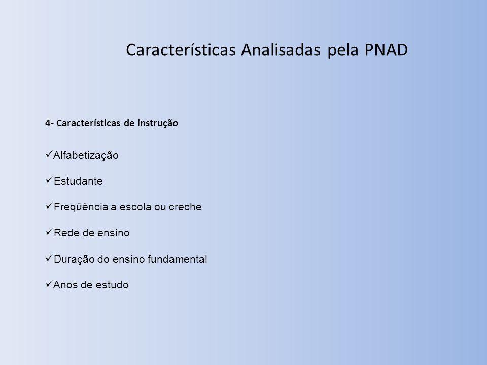 Características Analisadas pela PNAD 4- Características de instrução Alfabetização Estudante Freqüência a escola ou creche Rede de ensino Duração do ensino fundamental Anos de estudo