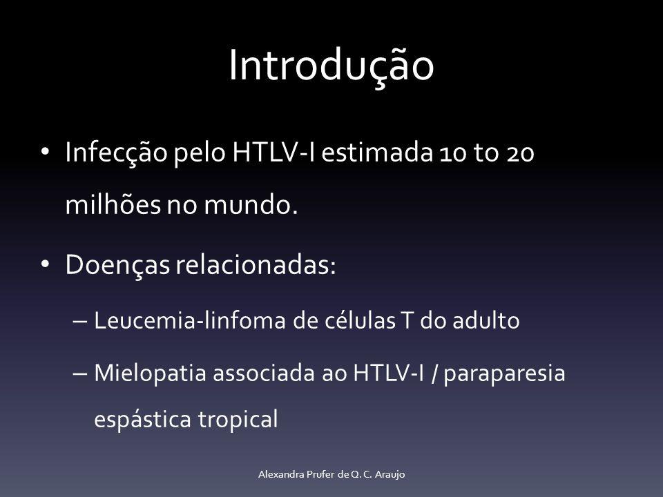 Introdução Infecção pelo HTLV-I estimada 10 to 20 milhões no mundo. Doenças relacionadas: – Leucemia-linfoma de células T do adulto – Mielopatia assoc