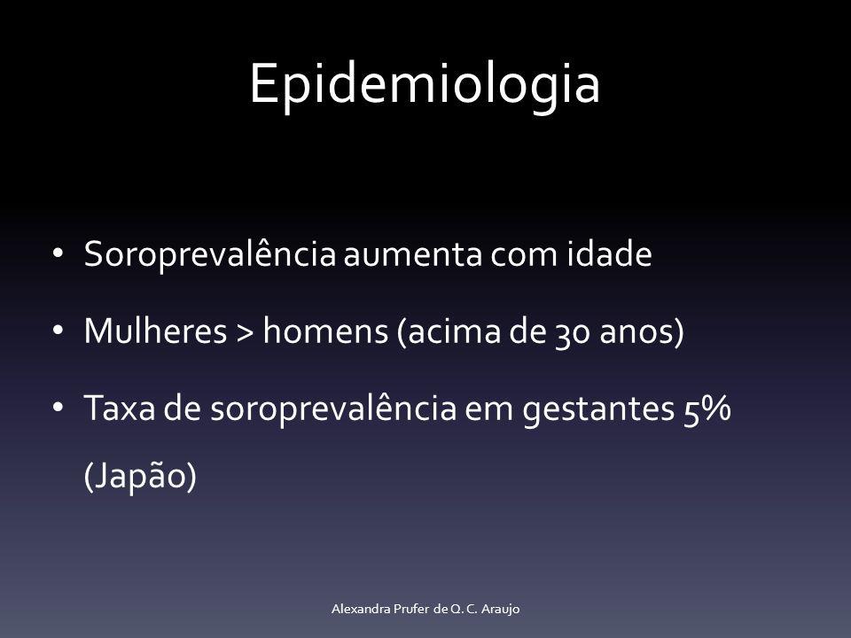 Epidemiologia Soroprevalência aumenta com idade Mulheres > homens (acima de 30 anos) Taxa de soroprevalência em gestantes 5% (Japão) Alexandra Prufer