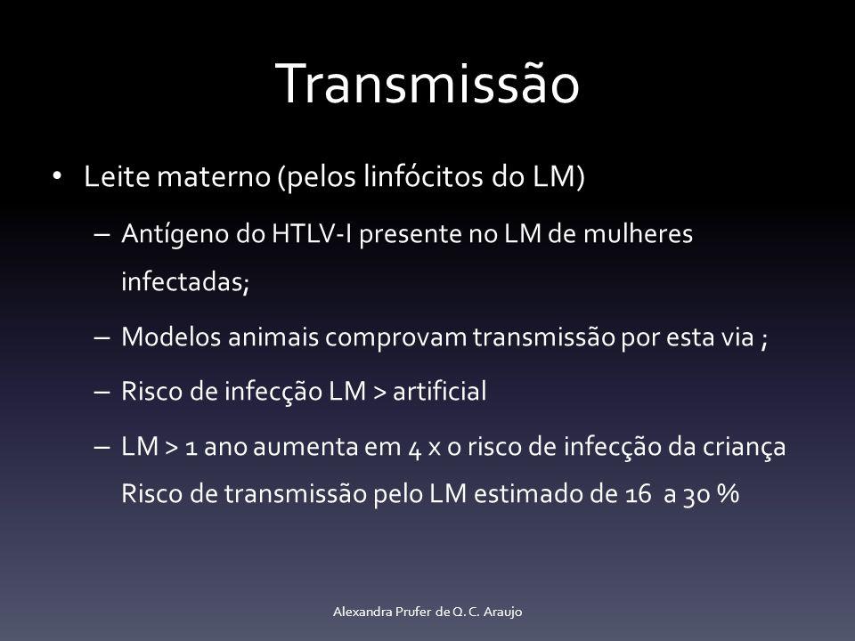 Transmissão Quanto mais prolongado LM maior o risco – Mais de 7 meses taxa de soroconversão HTLV-I of 14.4 %, – Até 6 meses soroconversão equivalente ao aleitamento artificial (4.4 e 5.7 %, respectivamente) Carga proviral, HLA Proteção dos anticorpos maternos nos primeiros meses Congelar e descongelar LM pode reduzir a transmissão Alexandra Prufer de Q.