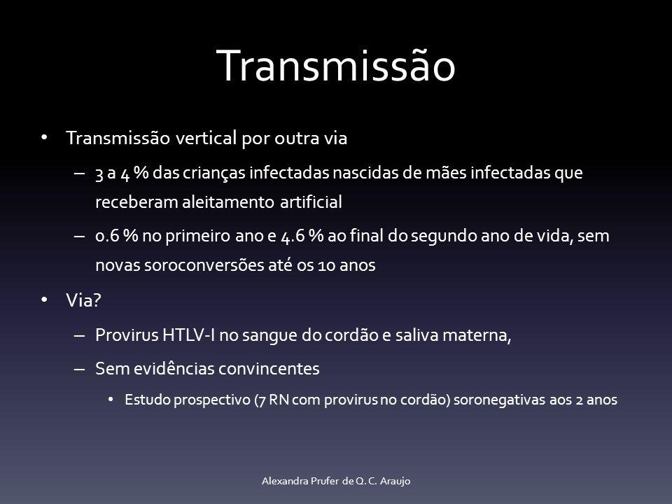 Transmissão Transmissão vertical por outra via – 3 a 4 % das crianças infectadas nascidas de mães infectadas que receberam aleitamento artificial – 0.