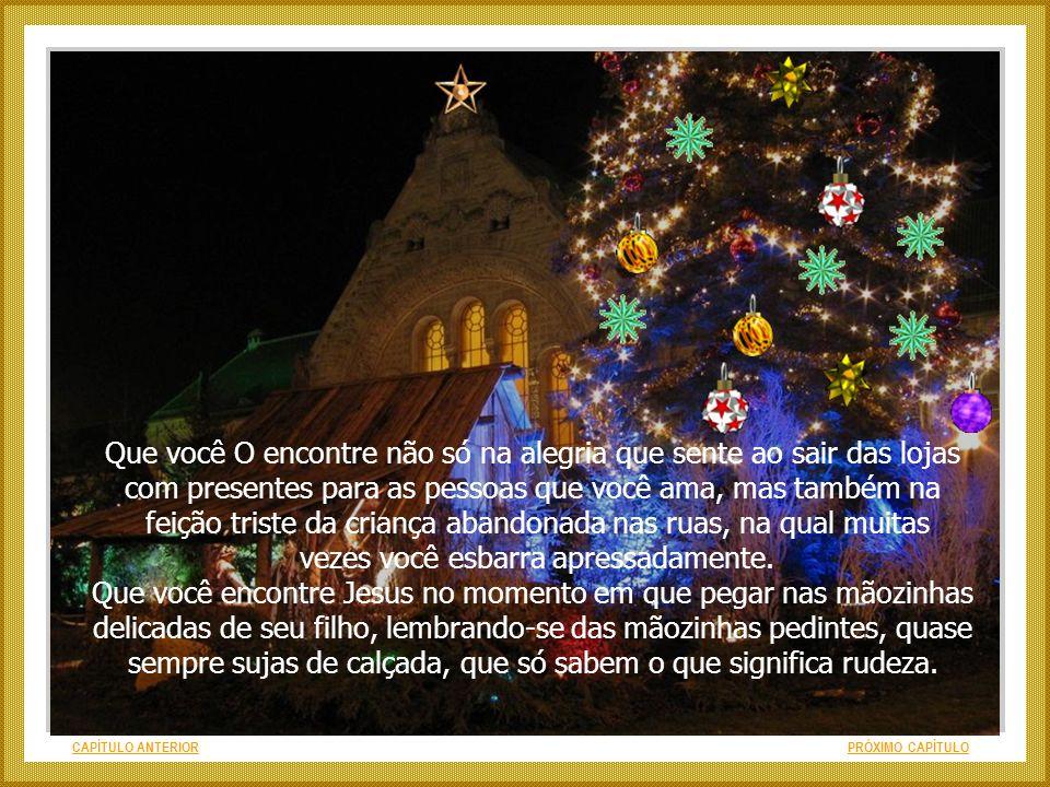 CAPÍTULO ANTERIORPRÓXIMO CAPÍTULO Desejo que neste Natal, antes de você perceber Jesus nas luzinhas que piscam pela cidade, você O encontre primeirame