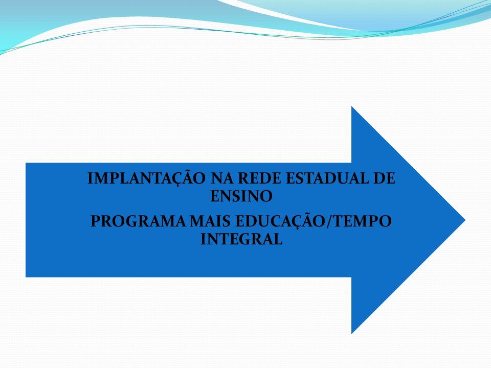 IMPLANTAÇÃO NA REDE ESTADUAL DE ENSINO PROGRAMA MAIS EDUCAÇÃO/TEMPO INTEGRAL