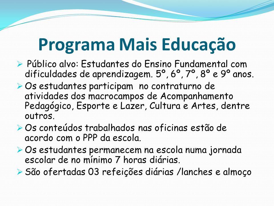 Programa Mais Educação Público alvo: Estudantes do Ensino Fundamental com dificuldades de aprendizagem. 5º, 6º, 7º, 8º e 9º anos. Os estudantes partic
