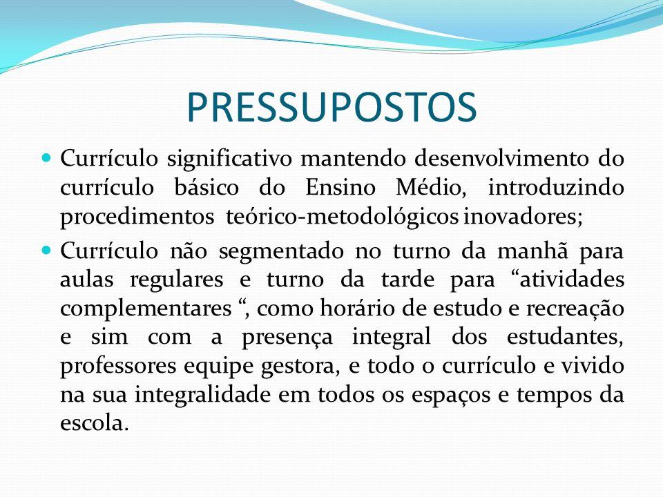 PRESSUPOSTOS Currículo significativo mantendo desenvolvimento do currículo básico do Ensino Médio, introduzindo procedimentos teórico-metodológicos in