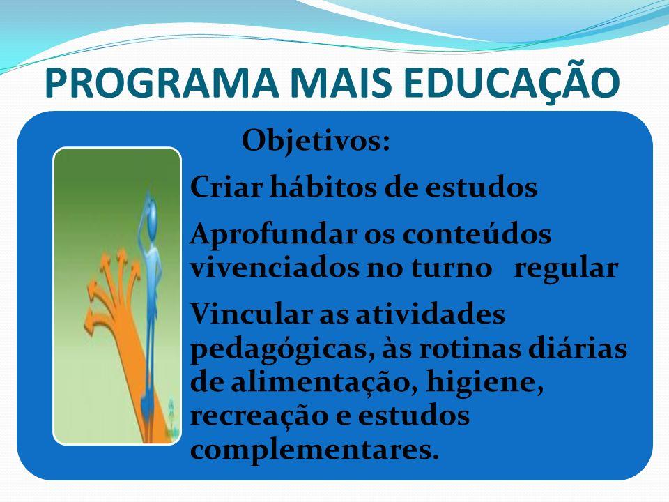 PROGRAMA MAIS EDUCAÇÃO Objetivos: Criar hábitos de estudos Aprofundar os conteúdos vivenciados no turno regular Vincular as atividades pedagógicas, às