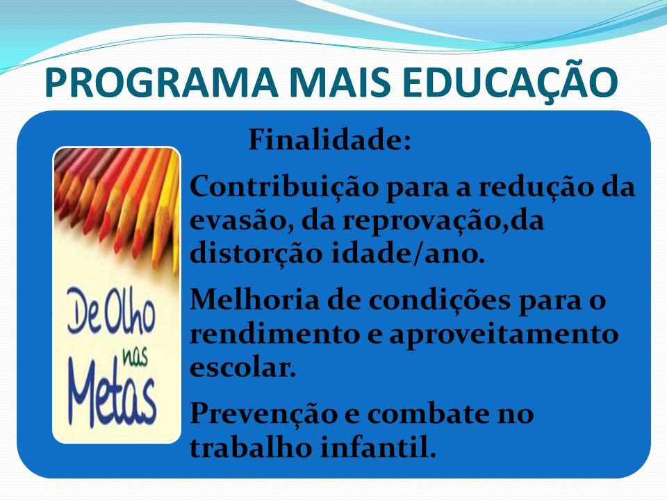 PROGRAMA MAIS EDUCAÇÃO Finalidade: Contribuição para a redução da evasão, da reprovação,da distorção idade/ano. Melhoria de condições para o rendiment
