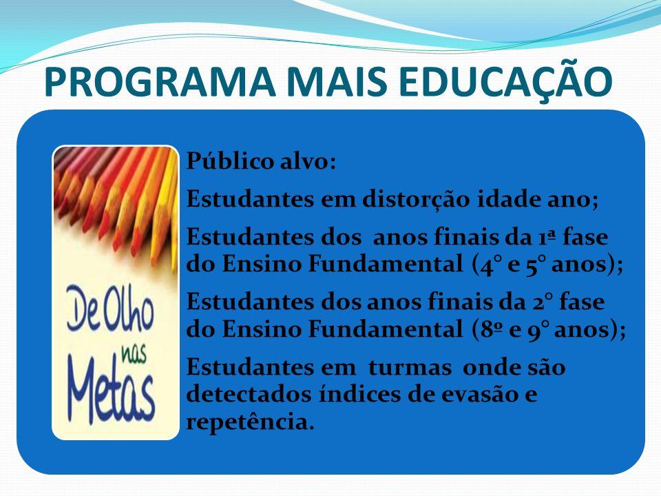 PROGRAMA MAIS EDUCAÇÃO Público alvo: Estudantes em distorção idade ano; Estudantes dos anos finais da 1ª fase do Ensino Fundamental (4° e 5° anos); Es