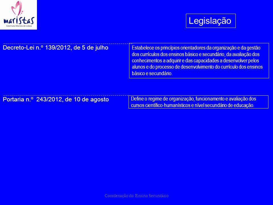 Coordenação do Ensino Secundário Legislação Decreto-Lei n.º 139/2012, de 5 de julho Portaria n.º 243/2012, de 10 de agosto Define o regime de organiza