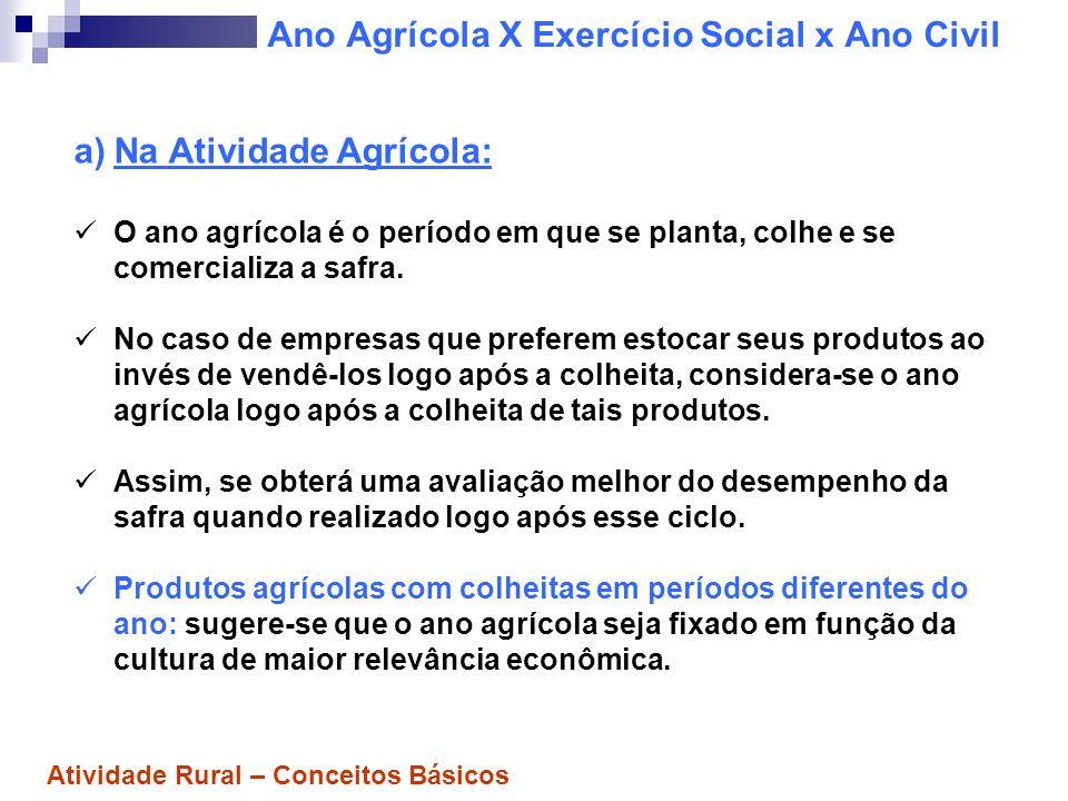 Ano Agrícola X Exercício Social x Ano Civil a)Na Atividade Agrícola: O ano agrícola é o período em que se planta, colhe e se comercializa a safra. No