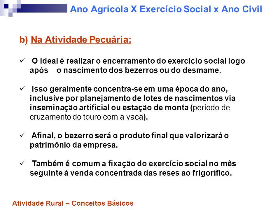 Ano Agrícola X Exercício Social x Ano Civil b) Na Atividade Pecuária: O ideal é realizar o encerramento do exercício social logo após o nascimento dos